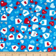 Moda Airmail Happy Mail Sky from @fabricdotcom  Designed by the Comstocks for Moda, this cotton print fabric is perfect for quilting, apparel and home decor accents. Colors include sky blue, red, grey and white.