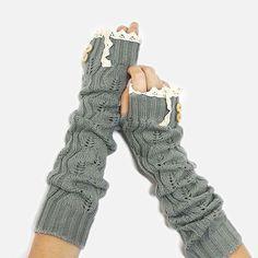Gray Long Knit Fingerless Glove Boho knit glove by HatPhaestus