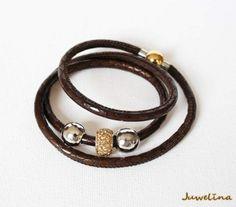 Juwelina - AUSVERKAUFT Wickelarmband aus Nappa-Leder mit Metall Perlen in Silber-Gold