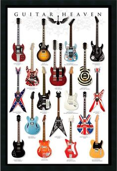 "0-028776>37x25"" Guitar Heaven Framed Art Gel Coated"