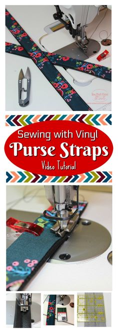 Sewing with Vinyl on my Industrial Sewing Machine - Making Vinyl Purse Straps - Sew Much Moore Easy Sewing Projects, Sewing Projects For Beginners, Sewing Hacks, Sewing Tutorials, Sewing Patterns, Tutorial Sewing, Sewing Tips, Sewing Ideas, Diy Handmade Bags