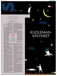 Kunniamaininta SNDS:n (Society for Newsdesign Scandinavia) ulkoasukilpailussa. Suunnitellut ja kuvittanut Susun graafikko Anniina Louhivuori. Tämä sivu on palkittu aiemminkin (European Newspaper Award).