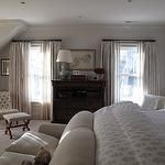 Guest Room Idea - All Gray - Jane Green - bedrooms - two-tone, greige, walls, chair rail, greige, sheers, drapes, chest, dresser, ivory, tufted, slipper, chair, linen, sofa, paisley, bedding, blue, double, gourd, lamp,