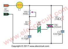 AC lights dimmer circuit using Triac and Diac Motor Electric, Power Lineman Electronics Mini Projects, Electronic Circuit Projects, Electronic Engineering, Electrical Engineering, Power Engineering, Chemical Engineering, Battery Charger Circuit, Power Lineman, Power Supply Circuit