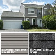 A&D Exteriors is a complete roofing company. We install all types of roofing including shingles, premium shingles, cedar shake, slate, and flat roofing. Grey Siding House, House Paint Exterior, Exterior House Colors, House Roof, Best Vinyl Siding, Vinyl Siding Colors, Colonial Exterior, Grey Exterior, Certainteed Vinyl Siding