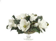 Preorder for May Transitional House, Cream White, Urn, Pedestal, Magnolia, Rocks, Glass, Floral, Flowers