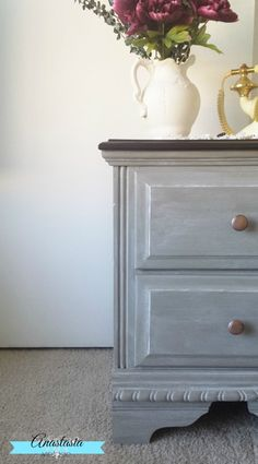 French Linen Chalk Paint Gel Stain On Night Stand
