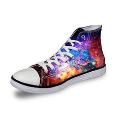 Sneakers, HUGSIDEA, HUGSIDEA Fashion Womens Galaxy Sneakers Casual High Top Lace-up Canvas Shoes US5