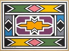 Esther MAHLANGU (born in 1935). Untitled - 2010. Oil on canvas. Signed and dated [...], Modern and Contemporary Art - Part 2 in Cannes Auctions | Cannes Auctions