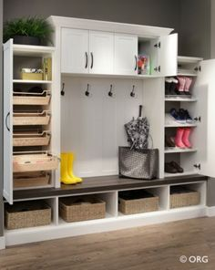 Multi-use - this is what we need: bench; lower level for shoes; linen storage; side closets for linens & mini-pantry; etc.