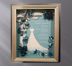 Framed Bridal Shower Invitation, Custom Bridal Gift, Teal Wedding, , Wedding Keepsake, Shower Gift, Wedding shadow box, Framed invitation