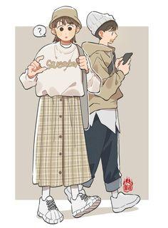 Art And Illustration, Character Illustration, Cute Art Styles, Cartoon Art Styles, Cute Couple Drawings, Cute Drawings, Drawing Anime Clothes, Cartoon Kunst, Arte Sketchbook