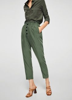 Mango Buttoned Modal Trousers - S Baggy Trousers, Trousers Women, Pants For Women, Women's Pants, Mango Fashion, Fashion Pants, Textiles, Fashion Outlet, Casual Pants