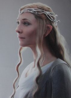 Galadriel in white and grey.
