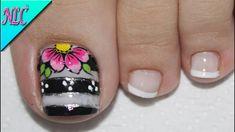 ♥DISEÑO DE UÑAS PARA PIES FLOR BLANCO Y NEGRO ¡MUY FÁCIL! - FLOWERS NAIL... Pedicure Designs, Diy Nail Designs, Summer Toe Nails, Spring Nails, Grow Nails Faster, Fast Nail, America Nails, Image Nails, Nail Quotes
