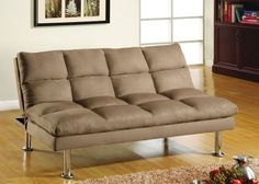 Saratoga I Contemporary Style Design Light Beige Finish Microfiber Pillow Top Futon Sofa with Chrome Finish Support Legs. Futon Sofa measures x x Futon Bed measures x x Some Assembly Required. Couches For Small Spaces, Small Sofa, Small Rooms, Small Futon, Tatami Futon, Futon Sofa Bed, Sleeper Sofa, Bedroom Sofa, Sofa Chair