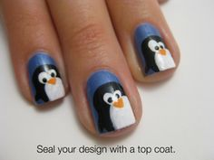 GSS themed nails seem so easy with a penguin tutorial. Rush event idea?