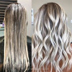 Trendy Hair Highlights : Balayage application & finished +Tips See here the best ever trends of ice blonde hair colors to show off right now. There are so many shades of blonde hair colors that you may use to sport with various hair lengths in these days. Grey Balayage, Balayage Hair, Hair Color For Women, Cool Hair Color, Hair Colors, Blonde Hair Shades, Healthy Hair Tips, Hair Highlights, Platinum Blonde Highlights