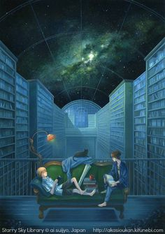 Starry Sky Library, 2010 © ai suijyo, Japan  via his/her site    http://akasioukan.kitunebi.com   Infinite reading possibilities! - pfb    ...  Respect people, respect copyright.  The law requires that you credit the artist. List/Link directly to artist's website.  HOW TO FIND the ORIGINAL WEB SITE of an image: http://pinterest.com/pin/86975836525507659/ COPYRIGHT LAW REQUIREMENTS: http://pinterest.com/pin/86975836525792650/ The Golden Rule: http://pinterest.com/pin/86975836525355452/
