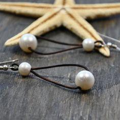 Pearl and Leather Hoop Earrings Flapper by nicholaslandon on Etsy, $58.00
