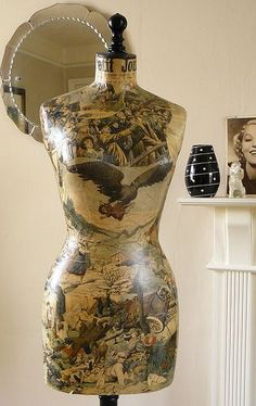 Unique Antique 1912 Decoupaged Mannequin | by Corset Laced Mannequins Buy new and used mannequins and dress forms at discount prices at MannequinMadness.com for your decoupage  projects like this.