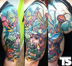 I do love me some good new school.    Tattoo by Scott Olive at Oddity Tattoo in Sarasota, FL.