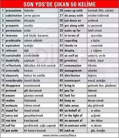 50 Words and Their Meanings in 2016 Spring Yds English Time, English Course, English Study, English Words, English Lessons, English Grammar, Learn English, English Language, Vocabulary Journal