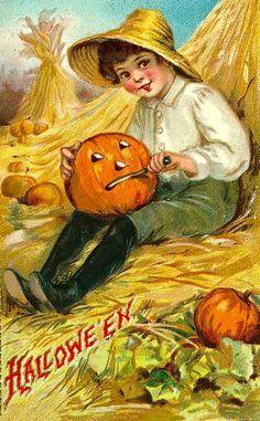 Vintage Halloween Clapsaddle Child Boy Jack o Lantern Hay Graphic Image Art Fabric Block Doodaba