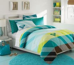 Blue, brown, green, and white teen girls bedroom by francine