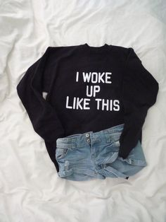 I woke up like this Crewneck Sweater by RealRebel on Etsy