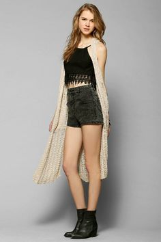 Ecote Crochet Maxi Vest #urbanoutfitters