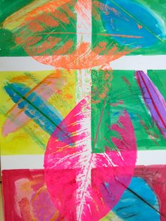 These are so beautiful and bright. A great multi-age lesson for fall, I think. Need neon-ish printing ink, maybe. Art with leaves: printmaking and wax resist