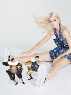 Small World - Dum (above left) and Dee (Sam Archer and Leon Cooke) up to their usual antics? Stay above it all in fresh white kicks and a botanical-themed dress. Kendall Jenner in an Alexander McQueen dress, belt, and sneakers.  Fashion Editor: Grace Coddington