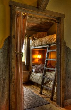 I love how the room is barely big enough for the two bunk beds. This would be great in a small house or cabin. They can play and get dressed elsewhere, but all sleep in one room.   Bunk Beds For Three Kids Design Ideas, Pictures, Remodel, and Decor - page 10