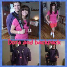 Couples diy halloween costume dora and packback