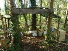 Mud kitchen at Hallr Woods, Somerset.