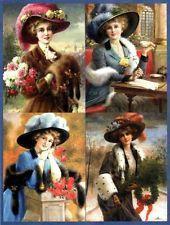 9 LADIES VINTAGE - FUR HATS 155 LB PAPER CRAFT CARD SCRAPBOOK TAG
