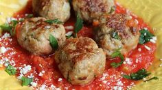 Ground turkey and chicken sausage are mixed with gluten-free bread crumbs in this quick and easy recipe for gluten-free meatballs.