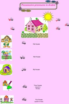 Learning Arabic MSA ( learn different languages with tips: Possessive pronouns in arabic Grammar And Vocabulary, Grammar Lessons, English Vocabulary, Arabic Conversation, Pronoun Worksheets, Learn Arabic Online, Arabic Alphabet For Kids, Arabic Lessons, Islam