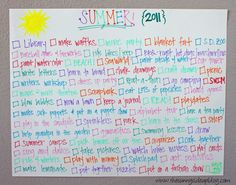 Summer to do list!