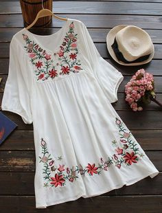 Take a look at this $23.99 dress,girl. Grab your fedora, hat, and sandals, because the Free Spirit Floral Embroidery Dress is ready for a spring break! Find more amazing pieces at Cupshe.com !