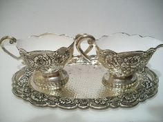 vintage cream and sugar bowl set