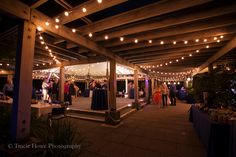 Reception with twinkle lights on Patio at the Graham Visitors Center