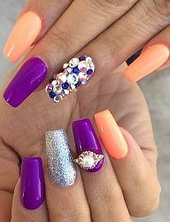 Purple, orange and silver glitter coffin nails.