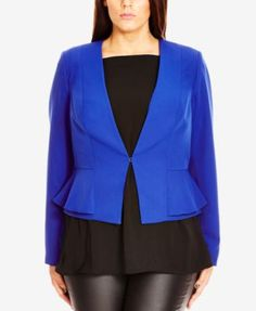 City Chic Plus Size Layered Peplum Blazer | macys.com