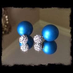 🎄GIFT IDEA🎄 Double Face Rhinestone Earrings WAS 12$..NOW 10$.🙀😱NEW WITHOUT TAGS. Iridescent blue and rhinestones studded double face earrings. Small ball (top) .8mm, Big ball (bottom) 16mm. (Have two in stock.) Boutique Jewelry Earrings