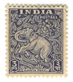 All sizes | India Postage Stamp: Ajanta Caves elephant |
