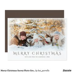 Merry Christmas Snowy Photo Greeting Card