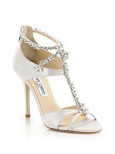 Jimmy Choo Bejeweled Metallic Suede Sandals