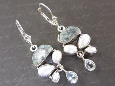 Aquamarine (Rough), Pearl, and Blue Topaz Sterling Silver Earrings